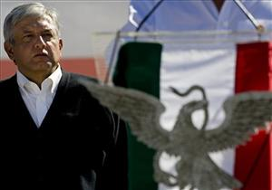 Mexico's former presidential candidate Andres Manuel Lopez Obrador leads a rally in Mexico City, Sunday, Jan. 25, 2009.