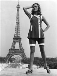 This woman, posing in front of the Eiffel Tower in 1968, is breaking the law.