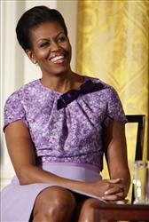First lady Michelle Obama hosts an event in the East Room of the White House in Washington, Wednesday, Nov. 18, 2009, celebrating women in the military.