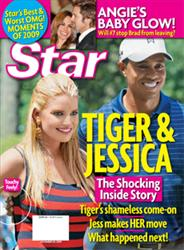 Tiger Woods and Jessica Simpson are shown on the cover of Star.