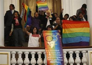 Gay rights activists celebrate the legalization of same-sex marriage, at Mexico City's local assembly yesterday.