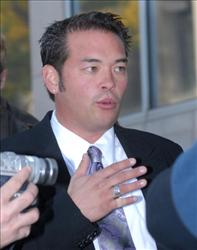 Jon Gosselin speaks with the media as he leaves Montgomery County Courthouse after a hearing in his divorce from wife Kate last year in Norristown, Penn.