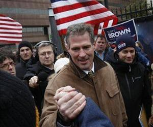 Massachusetts State Senator Scott Brown, R-Wrentham, campaigns outside the T.D. Garden before a Boston Bruins hockey game in Boston, Mass., Monday, Jan. 18, 2010.