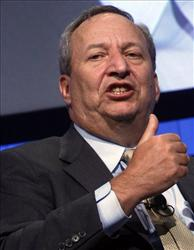 Larry Summers speaks at the Davos summit.