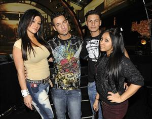 "Jenni ""J-Woww"" Farley, Pauly Delvecchio,  Mike ""The Situation"" Sorrentino, and Nicole ""Snooki"" Polizzi of the MTV show ""Jersey Shore"" pose in Los Angeles, on Friday,  Dec. 11, 2009."