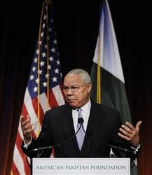 Former Secretary of State Colin Powell speaks at  the American Pakistan Foundation's Inaugural Gala Benefit in New York, Friday, Dec. 11, 2009.