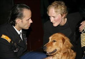 Iraq veteran Luis Montalvan and actress Glenn Close attend the Puppies Behind Bars celebration titled Dog Tags: Service Dogs For Those Who've Served Us held at on November 17, 2008 in New York City.