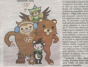 'Pedobear,' far right, is not an official Vancouver Olympics mascot. Oops.