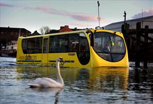 Stagecoach tests its amphibious bus on the River Clyde today in Glasgow, Scotland.