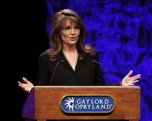 Former vice presidential candidate Sarah Palin addresses the National Tea Party Convention in Nashville last weekend.