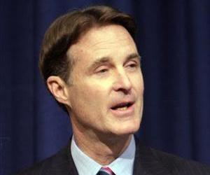 Sen. Evan Bayh, D-Ind., speaks at a news conference announcing he will not seek re-election in Indianapolis, Monday, Feb. 15, 2010.