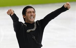 Evan Lysacek of the United States reacts after his performance in the men's free program figure skating competition Thursday February 18, 2010 at the 2010 Vancouver Olympic Winter Games in Vancouver, British Vancouver.
