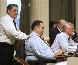 Democratic California Assemblyman Anthony Portantino, left, sponsored the Cuss-Free Week measure