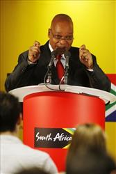 South African President Jacob Zuma addresses the media during a visit to London last week. Critics say a man with 20 kids will never be taken seriously when he slams unprotected sex.
