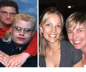 The photo on the left is what the Florida Family Policy Council sent out; the one on the right is the actual lesbian couple.