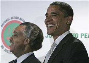 President Barack Obama and Rev. Al Sharpton during the 2008 campaign.