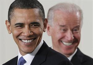 President Barack Obama and Vice President Joe Biden smile in the East Room of the White House in Washington, Tuesday, March 23, 2010.