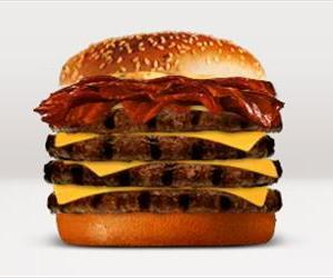 The BK Quad Stacker, seen here in a screenshot from Burger King's website, comes in at number 3 on the list, with 930 calories, 28g of saturated fat, and 160mg of cholesterol.