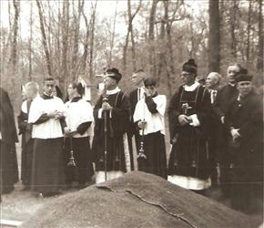 In this undated photo, Father Lawrence Murphy is at far right during a church service.
