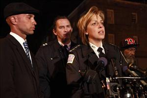 District of Columbia Mayor Adrian Fenty, left, Assistant Police Chief Peter Newsham, and Police Chief Cathy Lanier speak about the shooting of ten people.