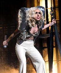 In this Jan. 20, 2010 file photo, singer Lady Gaga performs in concert at Radio City Music Hall in New York.