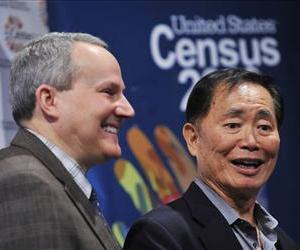 Actor George Takei, right and his husband Brad Altman speak at a news conference, Monday, in which the census unveiled its  public service videos encouraging gay couples to mail in their census forms.