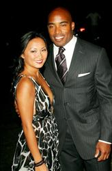Tiki Barber and wife Ginny attend the Fresh Air Fund's 'Salute To American Heroes' annual spring gala at Tavern on the Green June 01, 2006 in New York City.