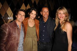Tom Cruise, Katie Holmes, Alex Rodriguez, and Cameron Diaz attend the Super Bowl Party hosted by Creative Artists Agency at the W Hotel: South Beach on February 6, 2010 in Miami Beach, Florida.