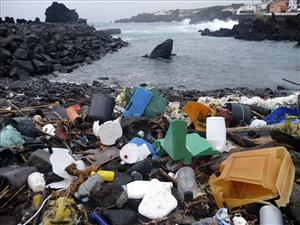 In this Feb. 15, 2010 photo released by 5 Gyres, a coastal area of the Azores Islands in Portugal, is shown littered with plastic garbage.