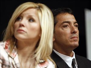 Actor Scott Baio, right, and his wife, Renee, are seen during a news conference to kick off National Newborn Screening Awareness Month in Los Angeles on Friday, Sept. 5, 2008.