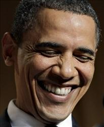 Obama gets a chuckle.