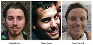 Joshua Fattal, Shane Bauer, and Sarah Shourd (from left), the American hikers jailed in Iran.
