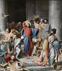 Circa 30 AD, Jesus Christ drove the money changers from the temple (painting by Carl Bloch). Circa 2010 AD, he'll be a 30-something New Yorker.