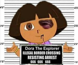 A roughed up Dora the Explorer gets brought in for illegaly crossing the border in this mashup image provided by creator Debbie Groben and FreakingNews.com.