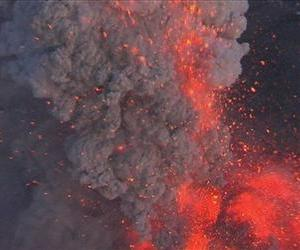 In this aerial image from video made Tuesday  May 11 2010 a column of fire, smoke and ash rises from Iceland's Eyjafjallajokul volcano.