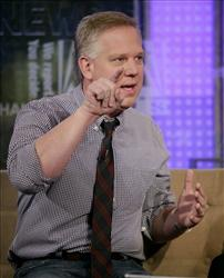 Radio and television personality Glenn Beck is interviewed on the Fox & friends television show in New York, Tuesday, May 18, 2010.