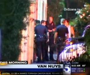 A screenshot from KTLA5's report on the stabbing.