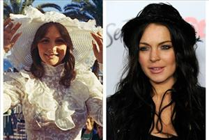 Porn star Linda Lovelace is shown on the left, Lindsay Lohan on the right.