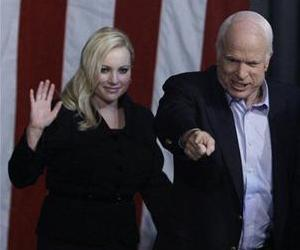 Meghan McCain accompanies her father, then-presidential candidate John McCain, at a rally in Henderson, Nev.,  Nov. 3, 2008.
