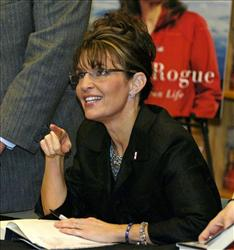 In this Nov. 21, 2009 file photo, Sarah Palin is possibly refudiating something.