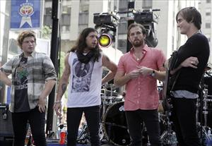 The Kings of Leon, Matthew Followill, Nathan Followill, Caleb Followill, and Jared Followill appear on Today, which though outside, is probably not nearly as poopy as St. Louis was.