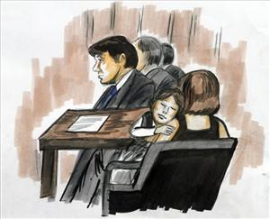 This courtroom sketch shows Rod Blagojevich with his wife, Patti, and daughter Annie, who is sleeping, during closing arguments in federal court in Chicago, July 26, 2010.