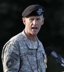 Gen. Stanley McChrystal speaks at a retirement ceremony at Fort McNair in Washington last month.
