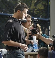 New York Yankees pitcher Andy Pettitte, center, arrives at a news conference Monday, Feb. 18, 2008 in Tampa, Fla. Pettitte, who reported for spring training baseball camp on Monday, answered questions about his use of human growth hormone. (AP Photo/Julie Jacobson)