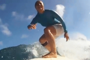 Joy, a surfing Hawaiian Mormon, stars in one of the ads.
