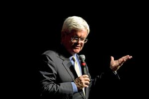 Newt Gingrich, former Speaker of the House, gestures during a speech at Goucher College March 14, 2007 in Baltimore, Maryland.