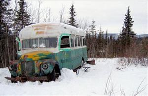 The abandoned bus where Christopher McCandless starved to death in 1992.