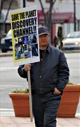 In this Feb. 14, 2008, photo, James J. Lee protests in front of the headquarters of the Discovery Channel networks in Silver Spring, Md.