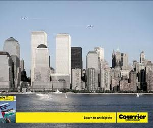 Courrier International's latest charming ad suggests that the Twin Towers should have just been shorter! Then the planes would have flown harmlessly overhead. Learn to Anticipate, they admonish.