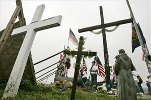 Crosses mark the Flight 93 National Memorial in Shanksville, Pa.